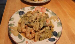 shrimp, artichokes, and pasta
