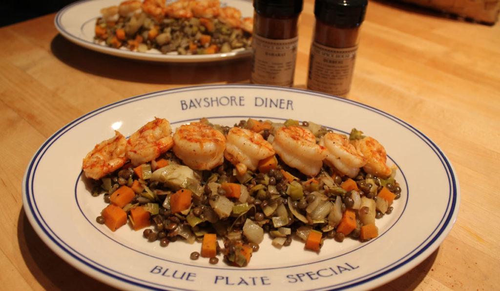 shrimp and lentils