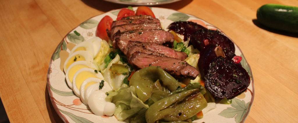 salads with steaks, beets, and peppers.