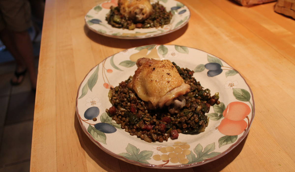 chicken and lentils
