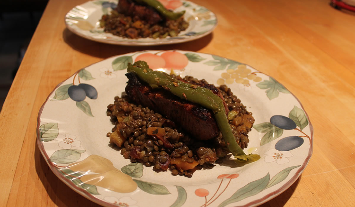 Steaks and Lentils