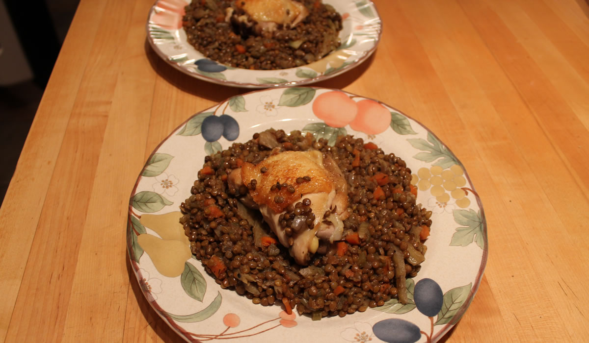 Chicken with Fennel and Lentils