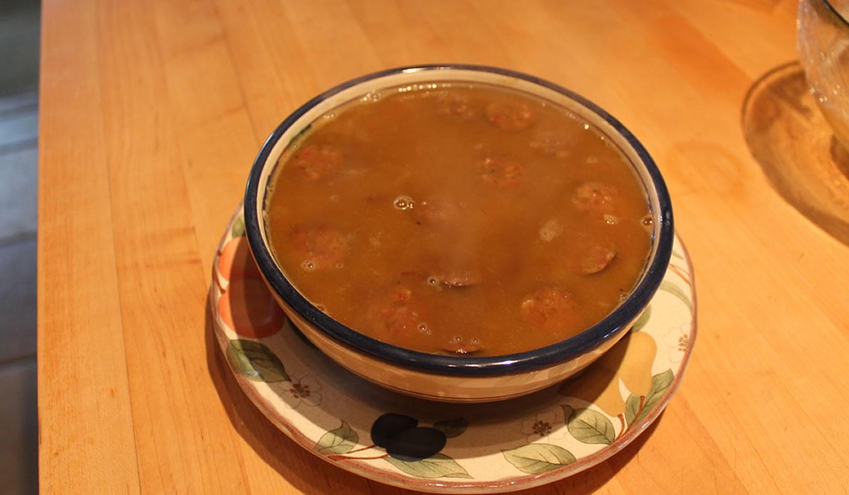Butternut Squash, Andouille, and Lentil Soup