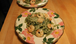 Spinach Linguine and Shrimp