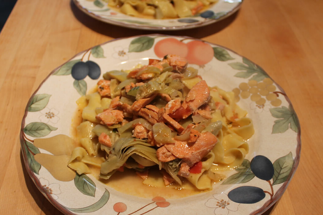 Pappardelle and Salmon
